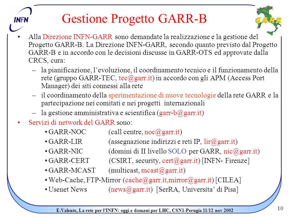 10 E.Valente, La rete per l'INFN: oggi e domani per LHC, CSN1-Perugia 11/12 nov 2002 Gestione Progetto GARR-B Alla Direzione INFN-GARR sono demandate la realizzazione e la gestione del Progetto GARR-B.
