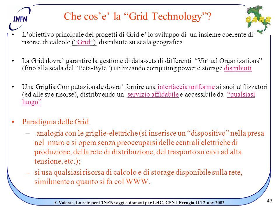 43 E.Valente, La rete per l'INFN: oggi e domani per LHC, CSN1-Perugia 11/12 nov 2002 Che cos'e' la Grid Technology .