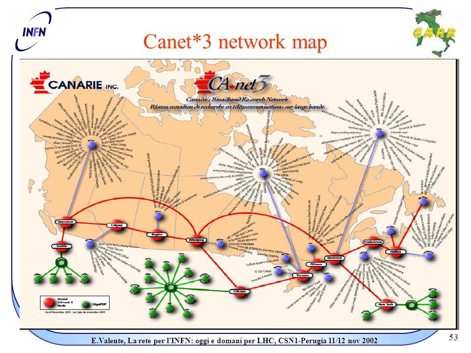 53 E.Valente, La rete per l'INFN: oggi e domani per LHC, CSN1-Perugia 11/12 nov 2002 Canet*3 network map