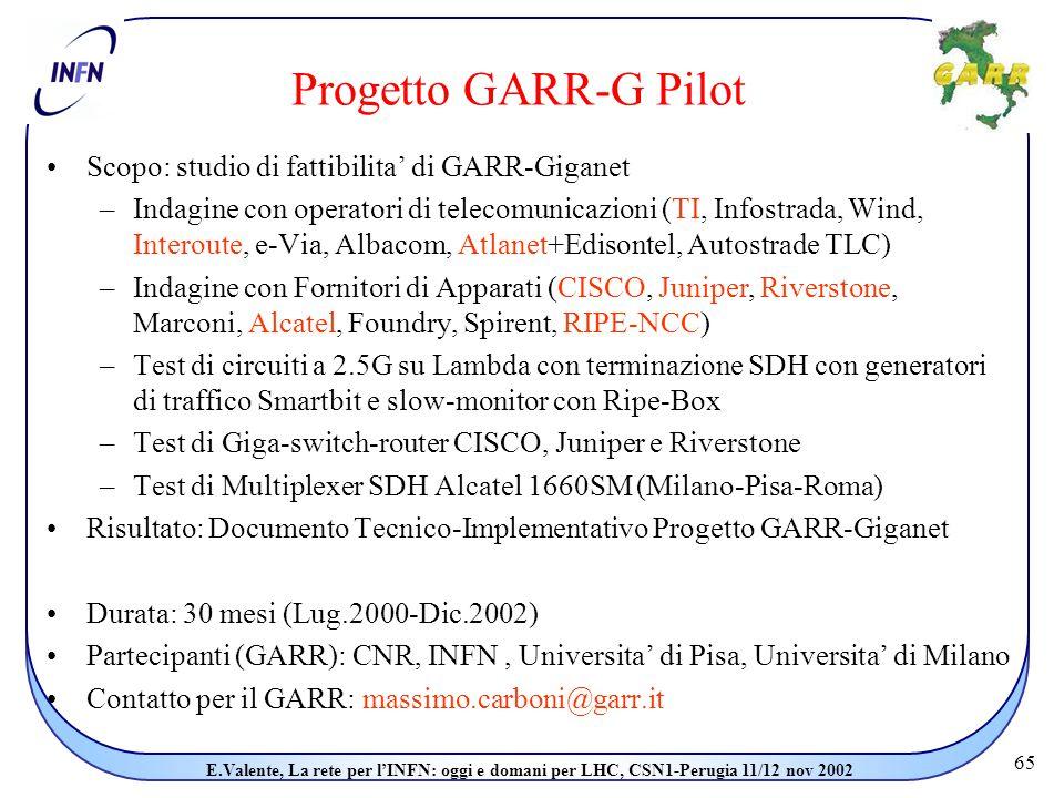 65 E.Valente, La rete per l'INFN: oggi e domani per LHC, CSN1-Perugia 11/12 nov 2002 Progetto GARR-G Pilot Scopo: studio di fattibilita' di GARR-Giganet –Indagine con operatori di telecomunicazioni (TI, Infostrada, Wind, Interoute, e-Via, Albacom, Atlanet+Edisontel, Autostrade TLC) –Indagine con Fornitori di Apparati (CISCO, Juniper, Riverstone, Marconi, Alcatel, Foundry, Spirent, RIPE-NCC) –Test di circuiti a 2.5G su Lambda con terminazione SDH con generatori di traffico Smartbit e slow-monitor con Ripe-Box –Test di Giga-switch-router CISCO, Juniper e Riverstone –Test di Multiplexer SDH Alcatel 1660SM (Milano-Pisa-Roma) Risultato: Documento Tecnico-Implementativo Progetto GARR-Giganet Durata: 30 mesi (Lug.2000-Dic.2002) Partecipanti (GARR): CNR, INFN, Universita' di Pisa, Universita' di Milano Contatto per il GARR: massimo.carboni@garr.it