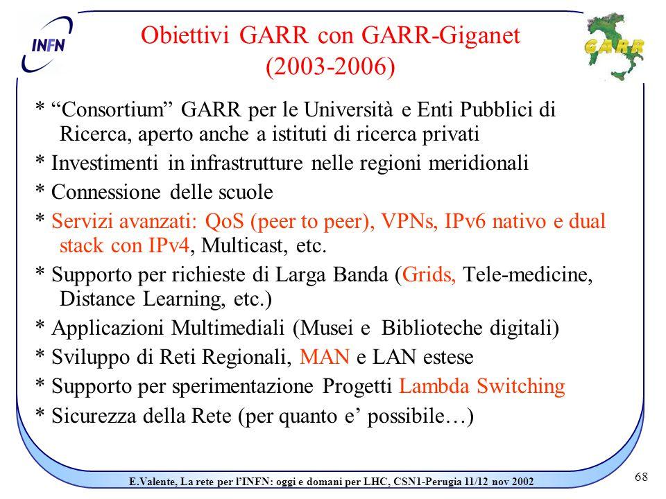 68 E.Valente, La rete per l'INFN: oggi e domani per LHC, CSN1-Perugia 11/12 nov 2002 Obiettivi GARR con GARR-Giganet (2003-2006) * Consortium GARR per le Università e Enti Pubblici di Ricerca, aperto anche a istituti di ricerca privati * Investimenti in infrastrutture nelle regioni meridionali * Connessione delle scuole * Servizi avanzati: QoS (peer to peer), VPNs, IPv6 nativo e dual stack con IPv4, Multicast, etc.