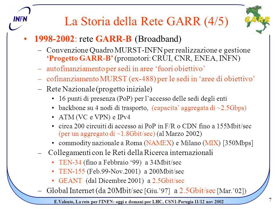 7 E.Valente, La rete per l'INFN: oggi e domani per LHC, CSN1-Perugia 11/12 nov 2002 La Storia della Rete GARR (4/5) 1998-2002: rete GARR-B (Broadband) –Convenzione Quadro MURST-INFN per realizzazione e gestione 'Progetto GARR-B' (promotori: CRUI, CNR, ENEA, INFN) –autofinanziamento per sedi in aree 'fuori obiettivo' –cofinanziamento MURST (ex-488) per le sedi in 'aree di obiettivo' –Rete Nazionale (progetto iniziale) 16 punti di presenza (PoP) per l'accesso delle sedi degli enti backbone su 4 nodi di trasporto, (capacita' aggregata di ~2.5Gbps) ATM (VC e VPN) e IPv4 circa 200 circuiti di accesso ai PoP in F/R o CDN fino a 155Mbit/sec (per un aggregato di ~1.8Gbit/sec) (al Marzo 2002) commodity nazionale a Roma (NAMEX) e Milano (MIX) [350Mbps] – Collegamenti con le Reti della Ricerca internazionali TEN-34 (fino a Febbraio '99) a 34Mbit/sec TEN-155 (Feb.99-Nov.2001) a 200Mbit/sec GEANT (dal Dicembre 2001) a 2.5Gbit/sec –Global Internet (da 20Mbit/sec [Giu.'97] a 2.5Gbit/sec [Mar.'02])