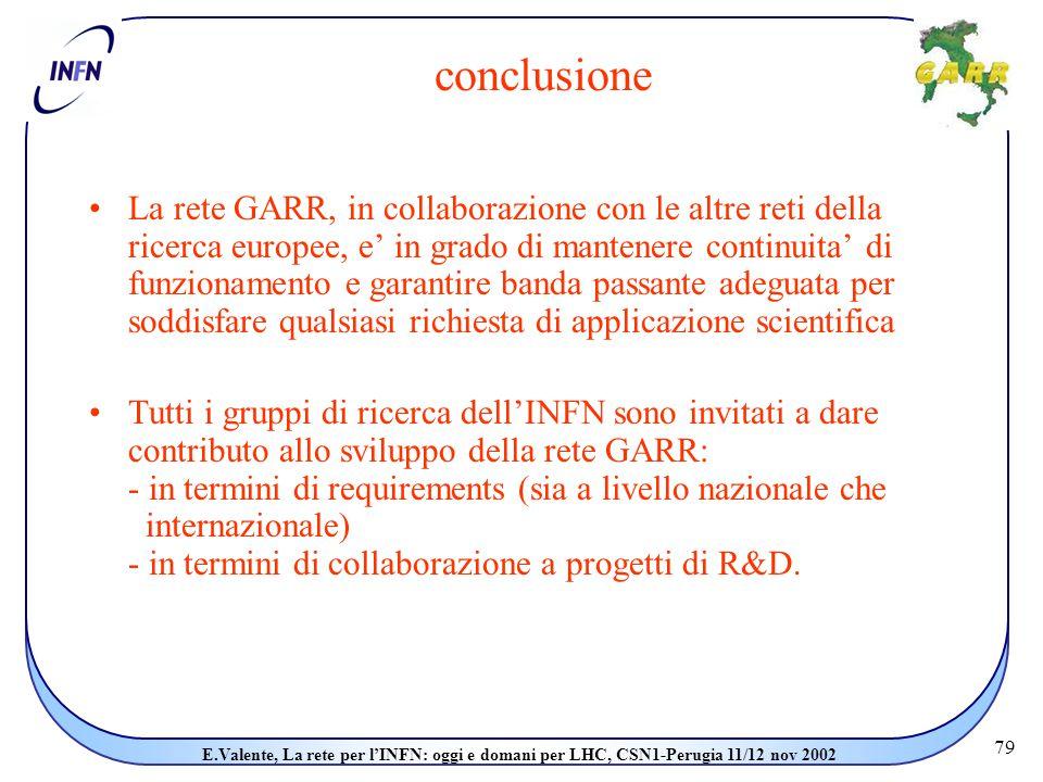 79 E.Valente, La rete per l'INFN: oggi e domani per LHC, CSN1-Perugia 11/12 nov 2002 conclusione La rete GARR, in collaborazione con le altre reti della ricerca europee, e' in grado di mantenere continuita' di funzionamento e garantire banda passante adeguata per soddisfare qualsiasi richiesta di applicazione scientifica Tutti i gruppi di ricerca dell'INFN sono invitati a dare contributo allo sviluppo della rete GARR: - in termini di requirements (sia a livello nazionale che internazionale) - in termini di collaborazione a progetti di R&D.