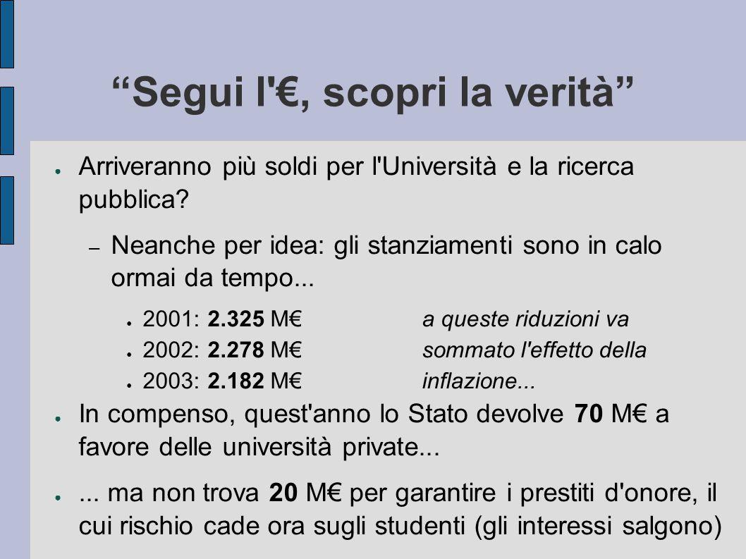 Segui l €, scopri la verità ● Arriveranno più soldi per l Università e la ricerca pubblica.