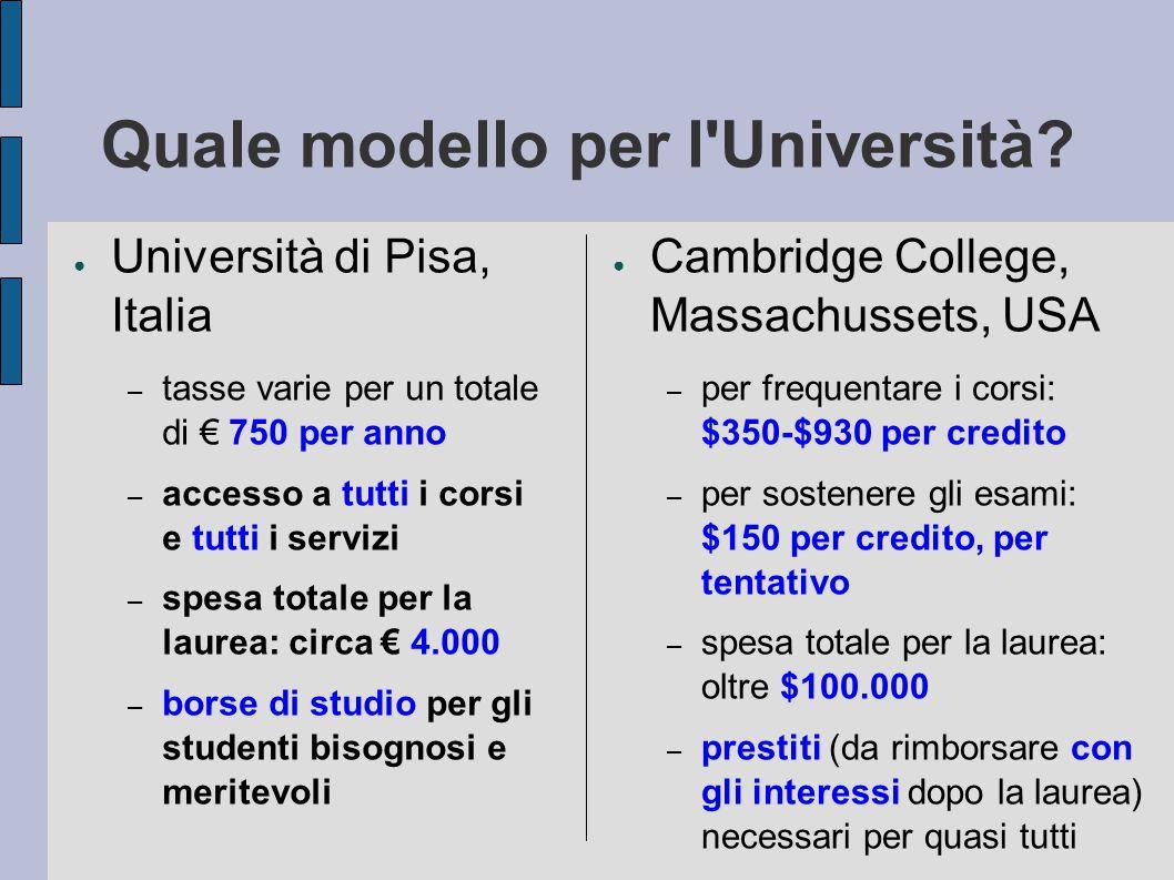 Quale modello per l Università.