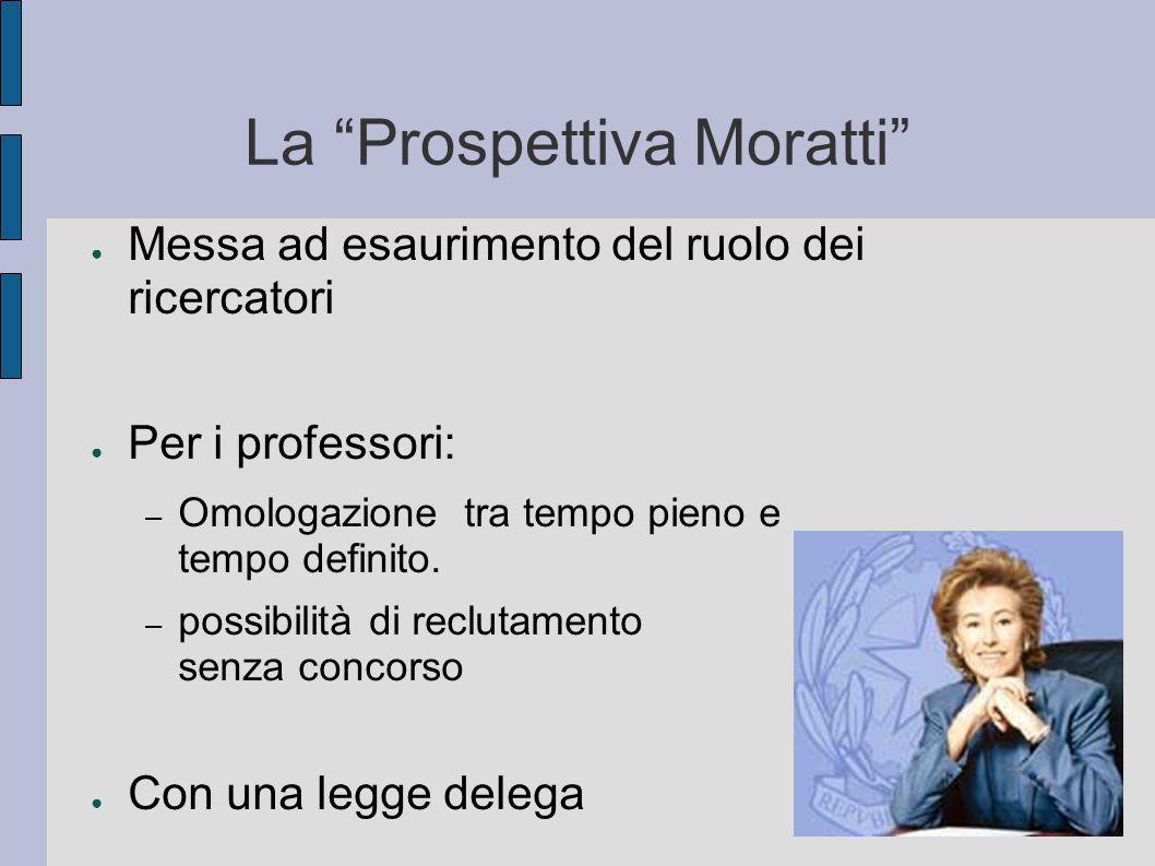 La Prospettiva Moratti ● Messa ad esaurimento del ruolo dei ricercatori ● Per i professori: – Omologazione tra tempo pieno e tempo definito.