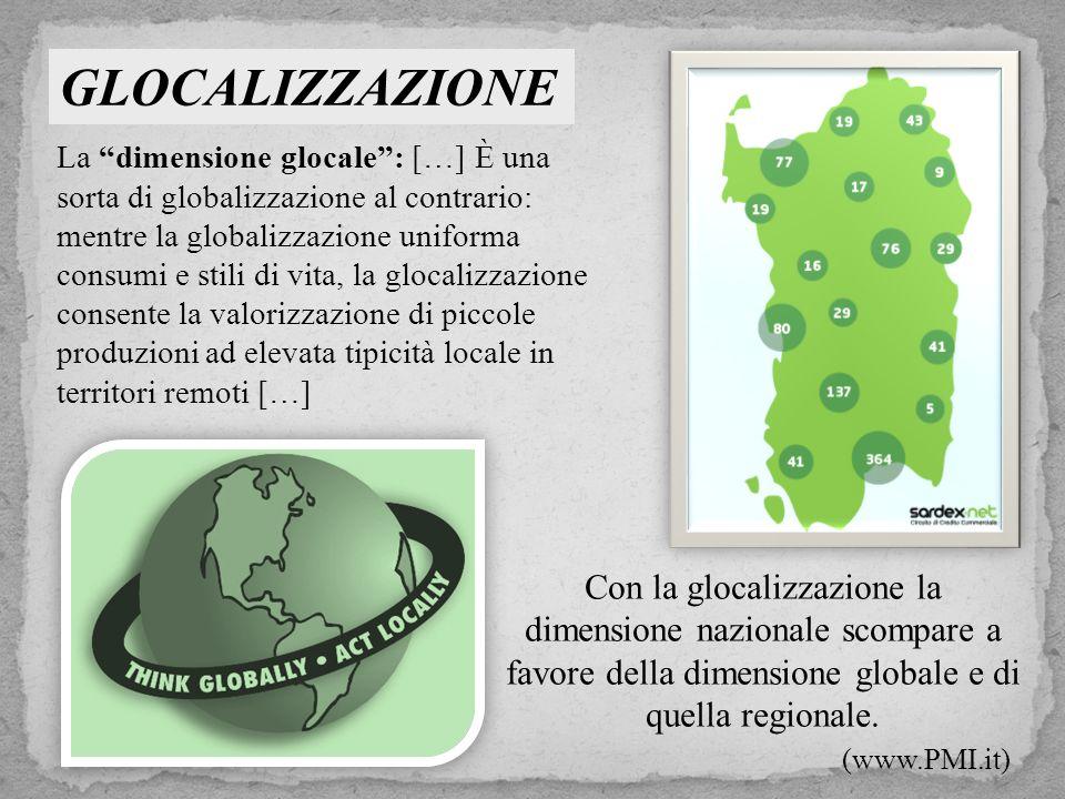 GLOCALIZZAZIONE Con la glocalizzazione la dimensione nazionale scompare a favore della dimensione globale e di quella regionale.