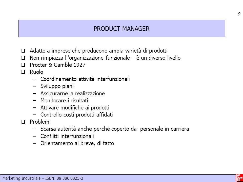 Marketing Industriale – ISBN: 88 386 0825-3 9 PRODUCT MANAGER  Adatto a imprese che producono ampia varietà di prodotti  Non rimpiazza l 'organizzaz