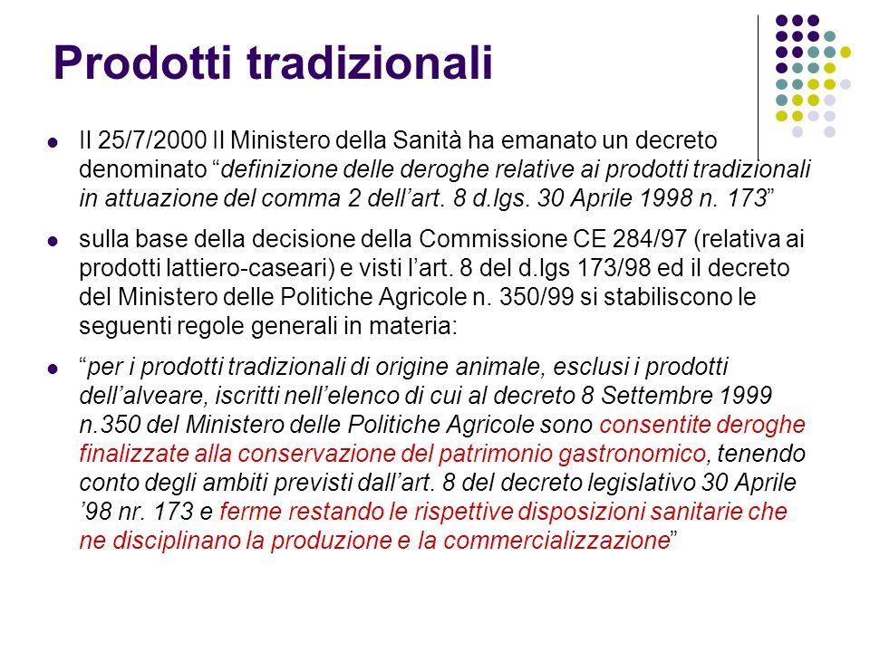 """Prodotti tradizionali Il 25/7/2000 Il Ministero della Sanità ha emanato un decreto denominato """"definizione delle deroghe relative ai prodotti tradizio"""