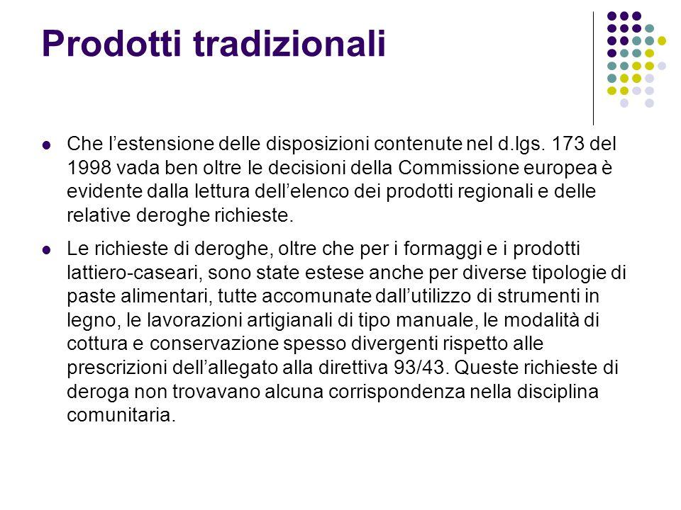 Prodotti tradizionali Che l'estensione delle disposizioni contenute nel d.lgs. 173 del 1998 vada ben oltre le decisioni della Commissione europea è ev