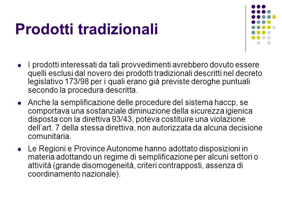 Prodotti tradizionali I prodotti interessati da tali provvedimenti avrebbero dovuto essere quelli esclusi dal novero dei prodotti tradizionali descrit