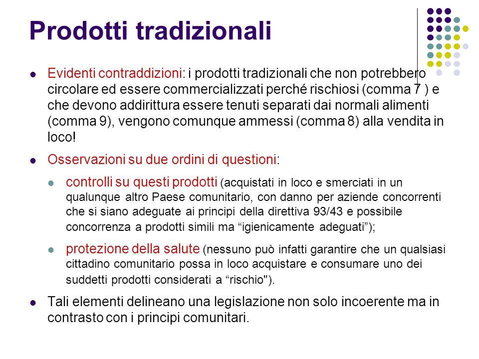 Prodotti tradizionali Evidenti contraddizioni: i prodotti tradizionali che non potrebbero circolare ed essere commercializzati perché rischiosi (comma