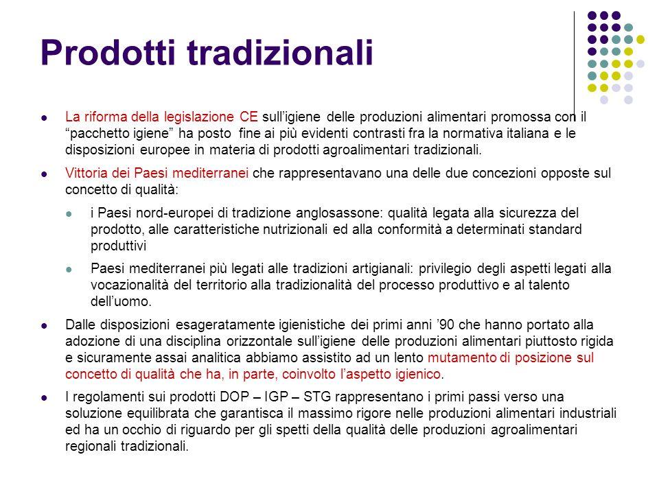 """Prodotti tradizionali La riforma della legislazione CE sull'igiene delle produzioni alimentari promossa con il """"pacchetto igiene"""" ha posto fine ai più"""
