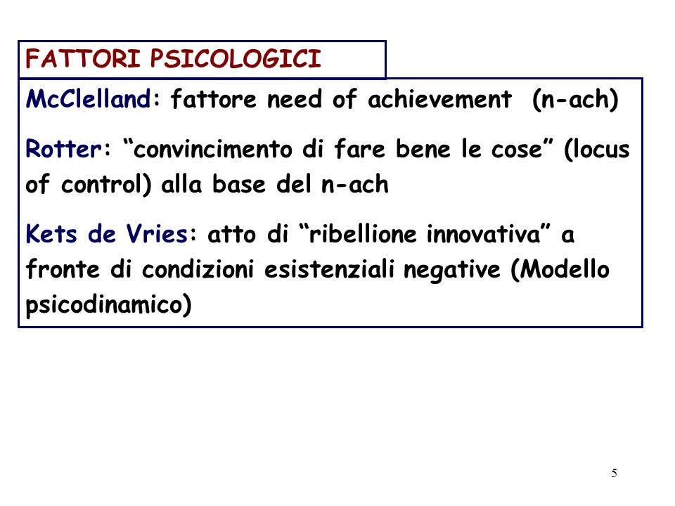 5 FATTORI PSICOLOGICI McClelland: fattore need of achievement (n-ach) Rotter: convincimento di fare bene le cose (locus of control) alla base del n-ach Kets de Vries: atto di ribellione innovativa a fronte di condizioni esistenziali negative (Modello psicodinamico)