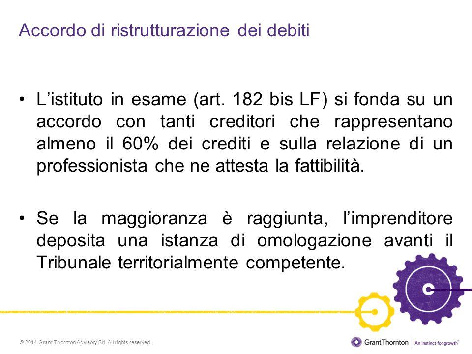 © 2014 Grant Thornton Advisory Srl. All rights reserved. Accordo di ristrutturazione dei debiti L'istituto in esame (art. 182 bis LF) si fonda su un a