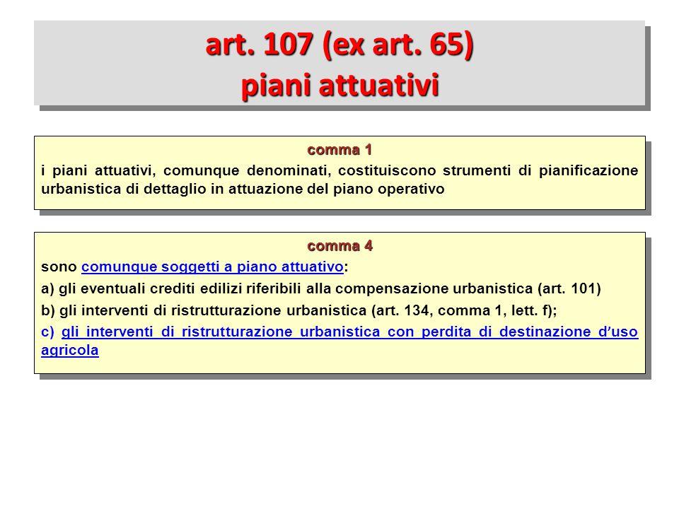 comma 4 sono comunque soggetti a piano attuativo: a) gli eventuali crediti edilizi riferibili alla compensazione urbanistica (art. 101) b) gli interve