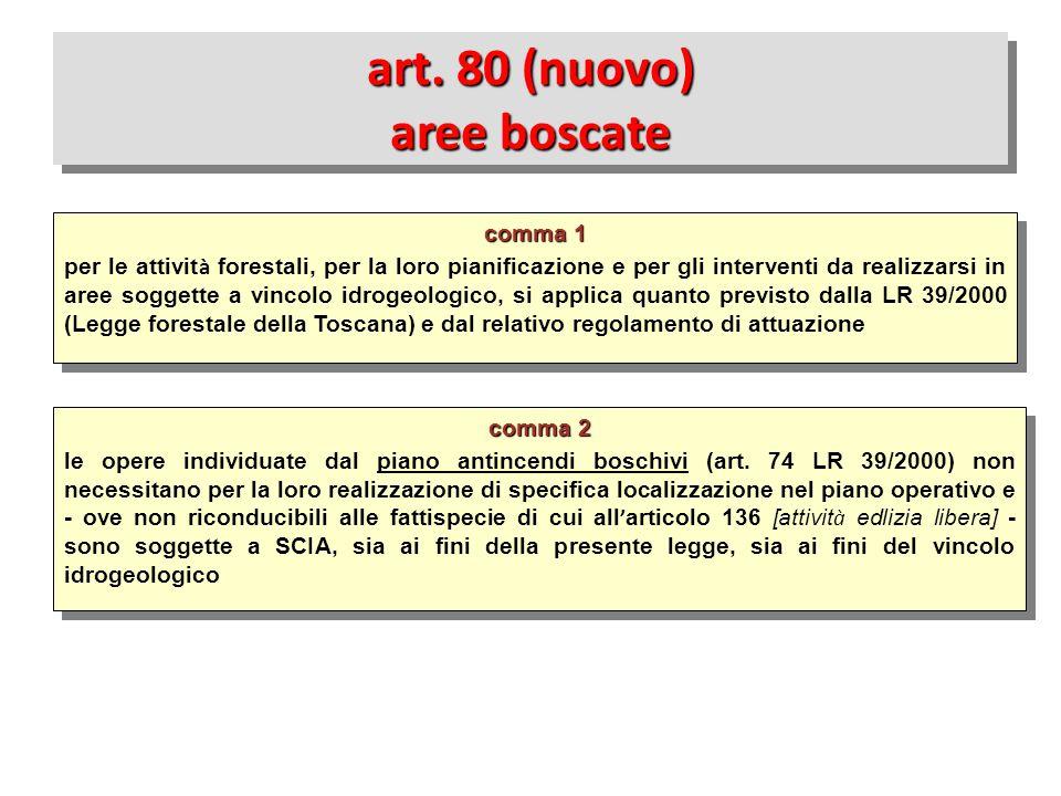 comma 2 le opere individuate dal piano antincendi boschivi (art. 74 LR 39/2000) non necessitano per la loro realizzazione di specifica localizzazione