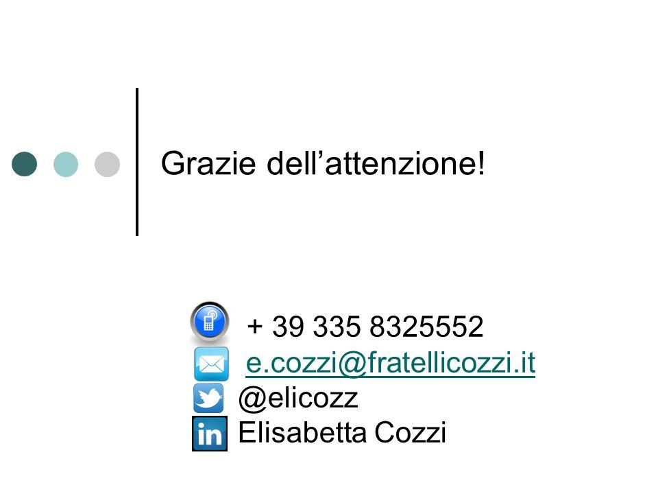 Grazie dell'attenzione! + 39 335 8325552 e.cozzi@fratellicozzi.it @elicozz Elisabetta Cozzi