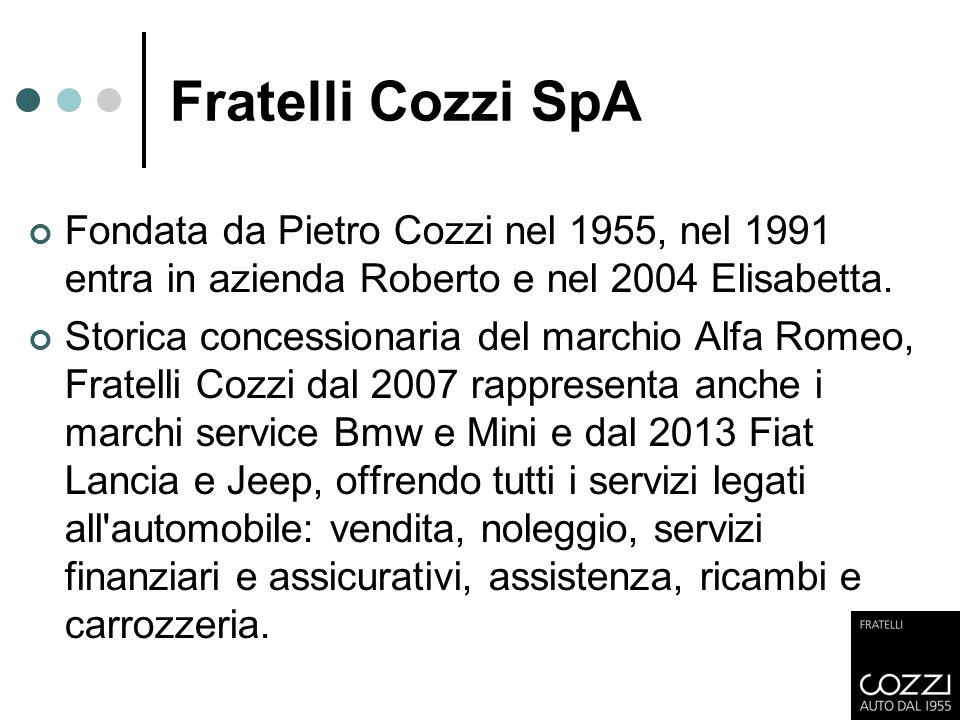 Fratelli Cozzi SpA Fondata da Pietro Cozzi nel 1955, nel 1991 entra in azienda Roberto e nel 2004 Elisabetta. Storica concessionaria del marchio Alfa