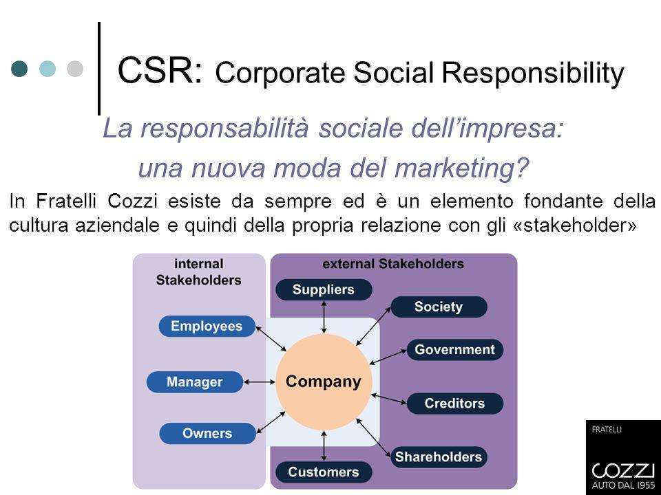 CSR: Corporate Social Responsibility La responsabilità sociale dell'impresa: una nuova moda del marketing? In Fratelli Cozzi esiste da sempre ed è un