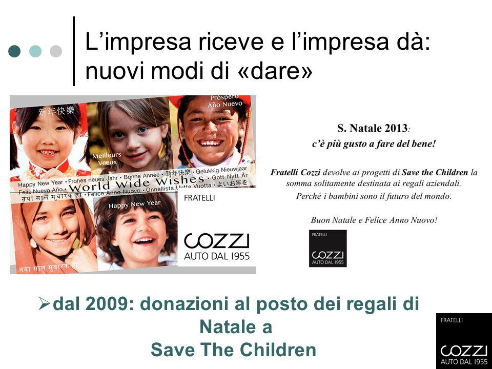 L'impresa riceve e l'impresa dà: nuovi modi di «dare»  dal 2009: donazioni al posto dei regali di Natale a Save The Children