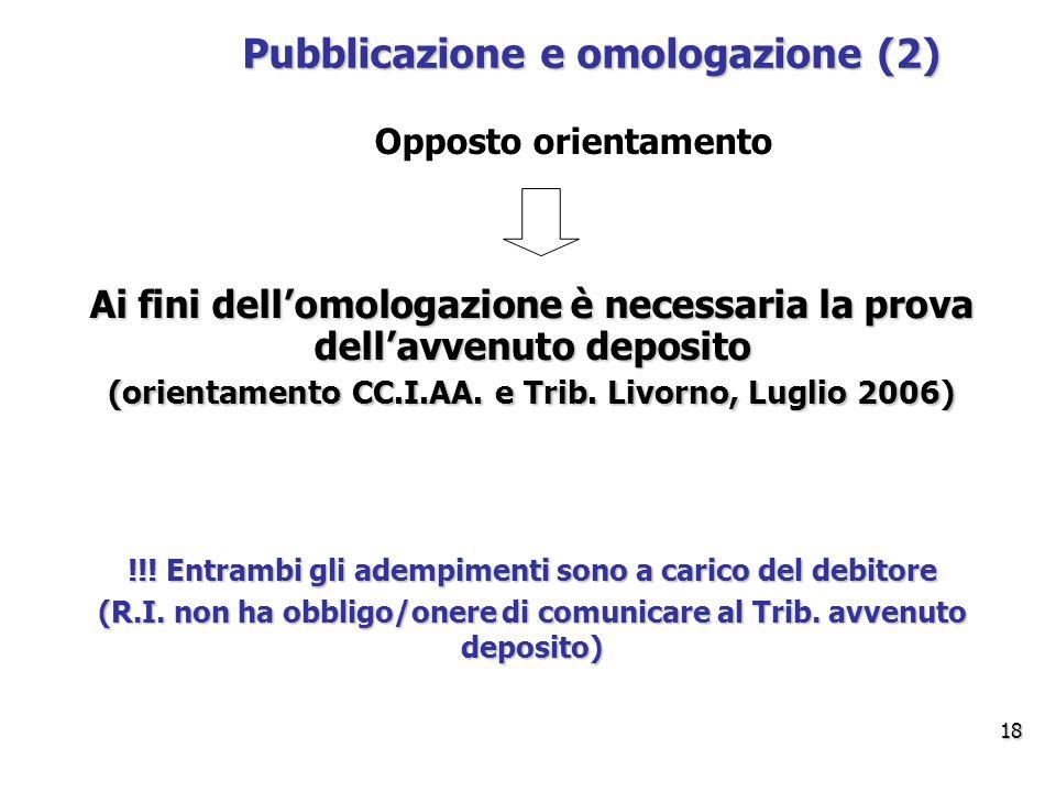 Pubblicazione e omologazione (2) Ai fini dell'omologazione è necessaria la prova dell'avvenuto deposito (orientamento CC.I.AA.