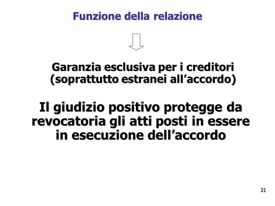 Funzione della relazione Garanzia esclusiva per i creditori (soprattutto estranei all'accordo) Il giudizio positivo protegge da revocatoria gli atti posti in essere in esecuzione dell'accordo 31