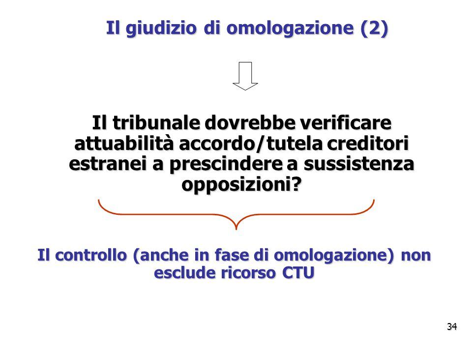 Il giudizio di omologazione (2) Il tribunale dovrebbe verificare attuabilità accordo/tutela creditori estranei a prescindere a sussistenza opposizioni.