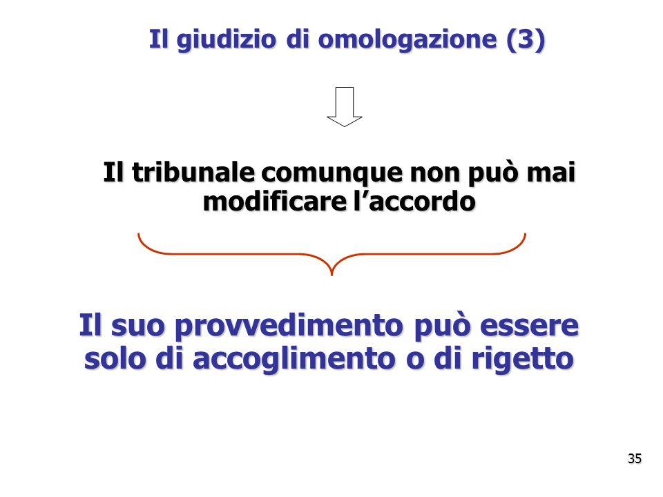 Il giudizio di omologazione (3) Il tribunale comunque non può mai modificare l'accordo Il suo provvedimento può essere solo di accoglimento o di rigetto 35