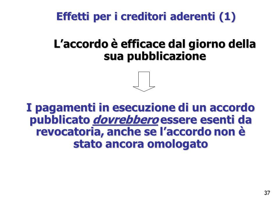 Effetti per i creditori aderenti (1) L'accordo è efficace dal giorno della sua pubblicazione I pagamenti in esecuzione di un accordo pubblicato dovrebbero essere esenti da revocatoria, anche se l'accordo non è stato ancora omologato 37