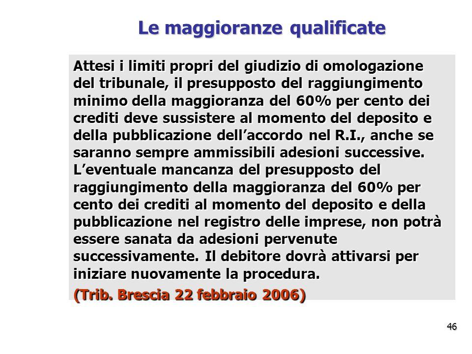 Attesi i limiti propri del giudizio di omologazione del tribunale, il presupposto del raggiungimento minimo della maggioranza del 60% per cento dei crediti deve sussistere al momento del deposito e della pubblicazione dell'accordo nel R.I., anche se saranno sempre ammissibili adesioni successive.