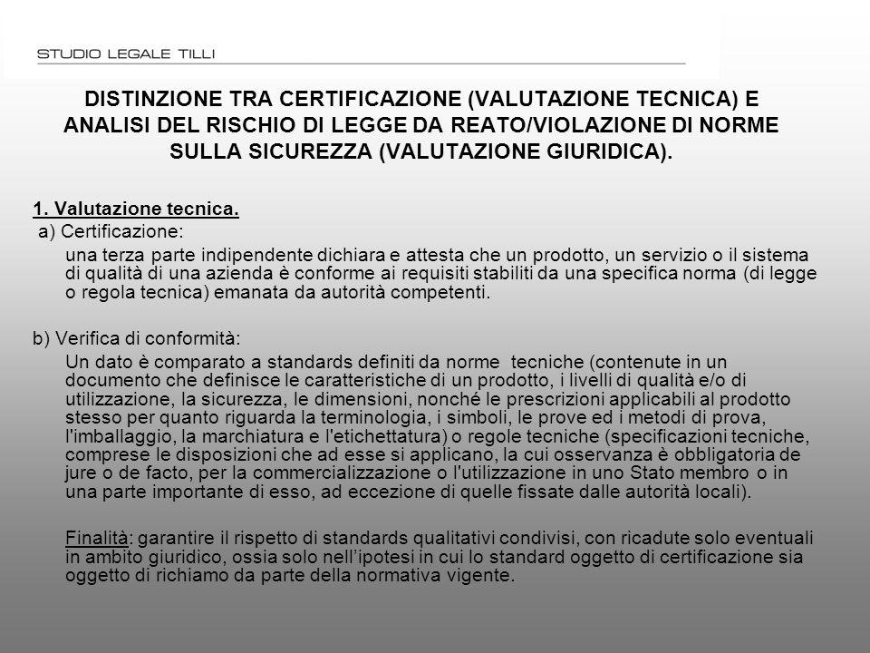 DISTINZIONE TRA CERTIFICAZIONE (VALUTAZIONE TECNICA) E ANALISI DEL RISCHIO DI LEGGE DA REATO/VIOLAZIONE DI NORME SULLA SICUREZZA (VALUTAZIONE GIURIDICA).