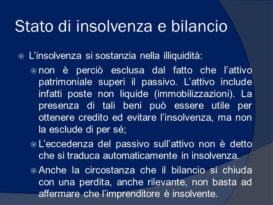 Stato di insolvenza e bilancio  L'insolvenza si sostanzia nella illiquidità:  non è perciò esclusa dal fatto che l'attivo patrimoniale superi il pas