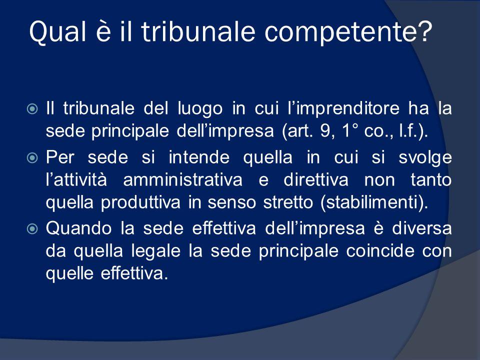 Qual è il tribunale competente?  Il tribunale del luogo in cui l'imprenditore ha la sede principale dell'impresa (art. 9, 1° co., l.f.).  Per sede s