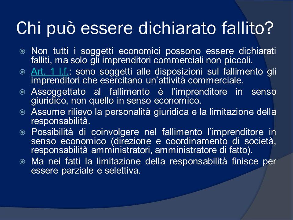 Chi può essere dichiarato fallito?  Non tutti i soggetti economici possono essere dichiarati falliti, ma solo gli imprenditori commerciali non piccol