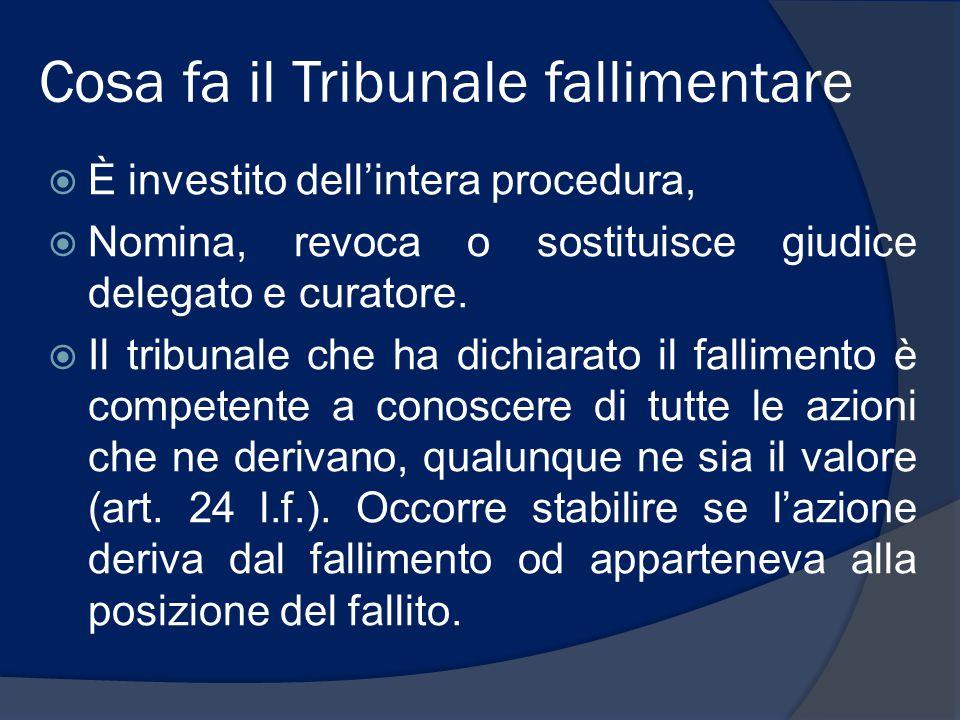 Cosa fa il Tribunale fallimentare  È investito dell'intera procedura,  Nomina, revoca o sostituisce giudice delegato e curatore.  Il tribunale che