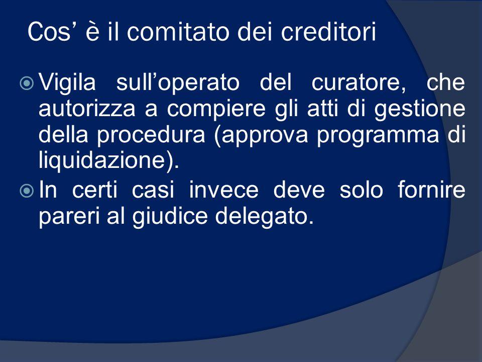Cos' è il comitato dei creditori  Vigila sull'operato del curatore, che autorizza a compiere gli atti di gestione della procedura (approva programma