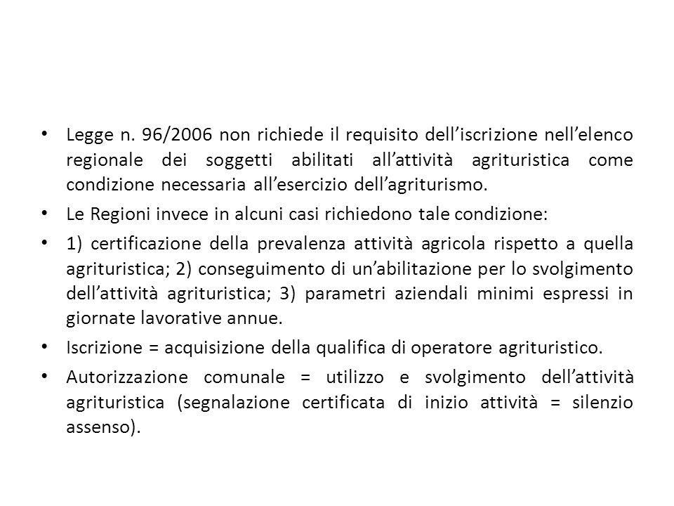 Legge n. 96/2006 non richiede il requisito dell'iscrizione nell'elenco regionale dei soggetti abilitati all'attività agrituristica come condizione nec