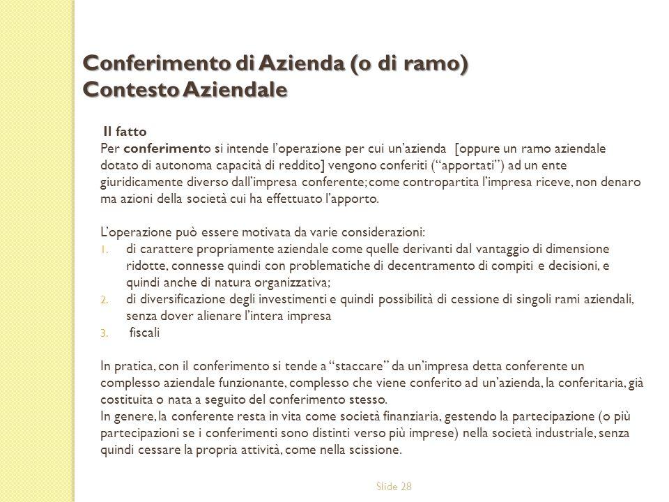 Slide 28 Il fatto Per conferimento si intende l'operazione per cui un'azienda [oppure un ramo aziendale dotato di autonoma capacità di reddito] vengon