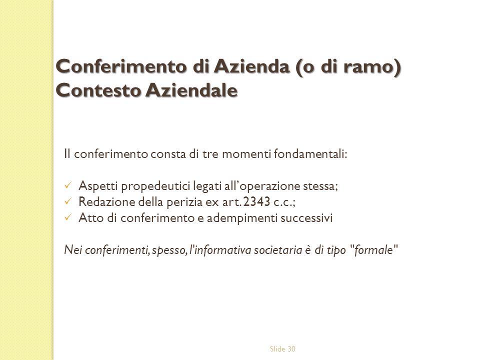 Slide 30 Il conferimento consta di tre momenti fondamentali: Aspetti propedeutici legati all'operazione stessa; Redazione della perizia ex art. 2343 c