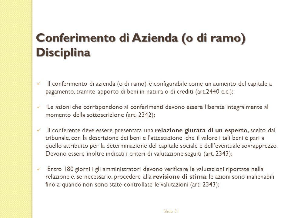 Slide 31 Il conferimento di azienda (o di ramo) è configurabile come un aumento del capitale a pagamento, tramite apporto di beni in natura o di credi
