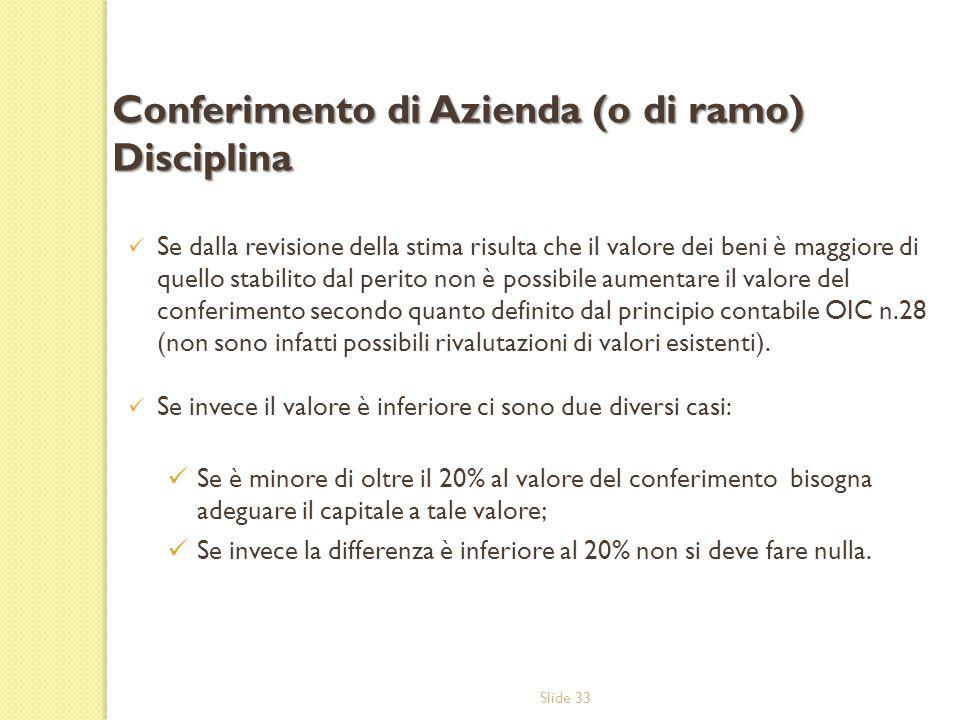 Slide 33 Se dalla revisione della stima risulta che il valore dei beni è maggiore di quello stabilito dal perito non è possibile aumentare il valore d