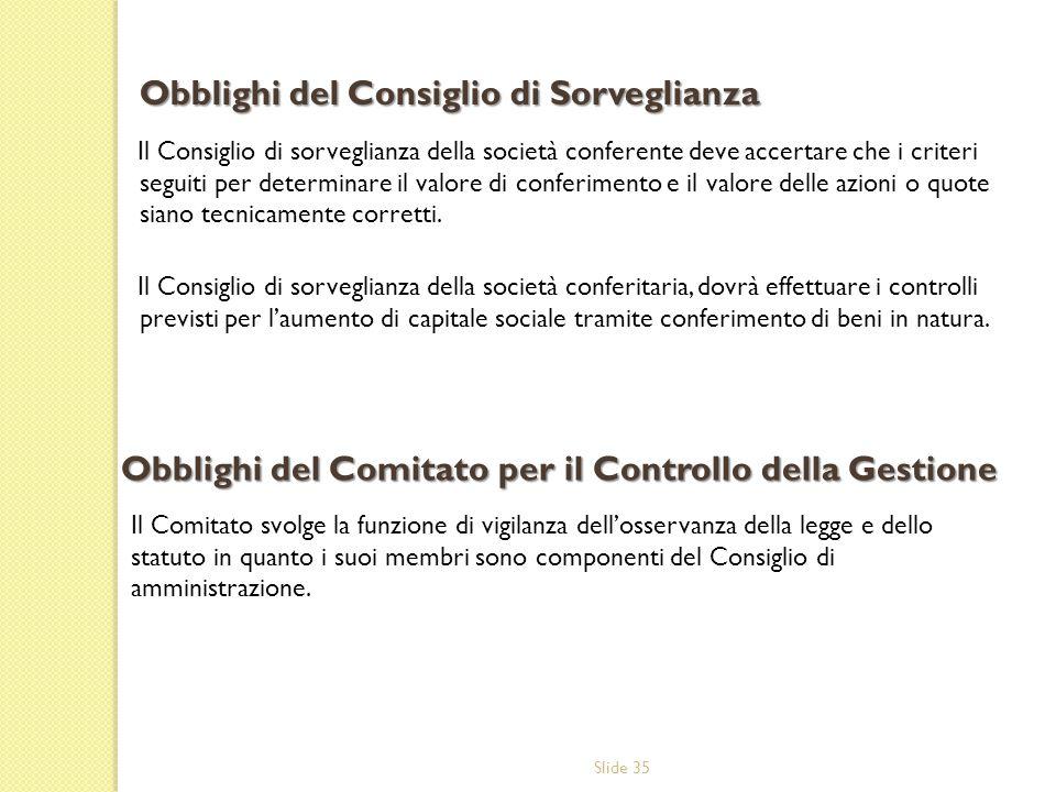 Slide 35 Il Consiglio di sorveglianza della società conferente deve accertare che i criteri seguiti per determinare il valore di conferimento e il val