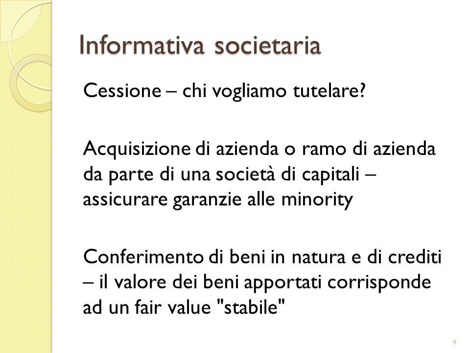 Informativa societaria Cessione – chi vogliamo tutelare? Acquisizione di azienda o ramo di azienda da parte di una società di capitali – assicurare ga