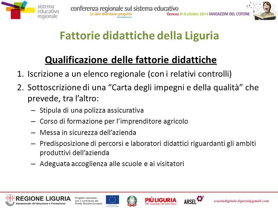 Fattorie didattiche della Regione Liguria Formazione del responsabile della fattoria didattica Consiste in un corso di base di almeno 80 ore Con il Programma di sviluppo rurale (PSR) 2007-2013 e con fondi regionali sono stati organizzati 20 corsi di formazione di base a cui hanno partecipato circa 200 persone