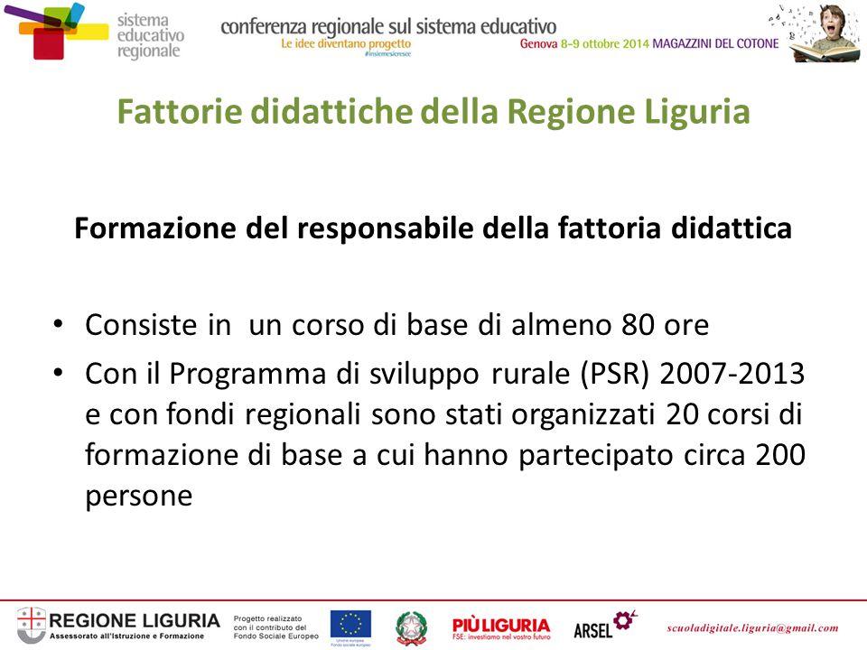 Fattorie didattiche della Liguria Corsi di formazione per insegnanti Con fondi regionali e del Ministero delle Politiche agricole sono stati organizzati circa 10 corsi di formazione per insegnanti sull'educazione alimentare-ambientale e sulle fattorie didattiche a cui hanno partecipato circa 100 insegnanti