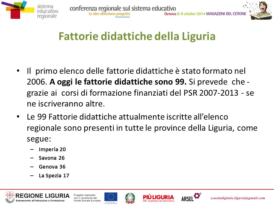 Fattorie didattiche della Liguria Rete delle fattorie didattiche Il progetto delle Fattorie didattiche si è sviluppato e ha avuto successo in Liguria grazie al gruppo di lavoro, costituito dalla Regione Liguria, dalle Organizzazioni di categoria e dall'Ufficio scolastico regionale, che ha creato la rete delle fattorie didattiche della Regione Liguria.