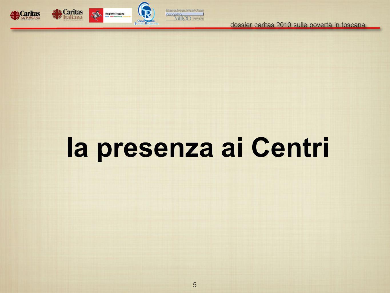 dossier caritas 2010 sulle povertà in toscana 5 la presenza ai Centri