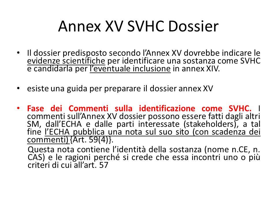 Annex XV SVHC Dossier Il dossier predisposto secondo l'Annex XV dovrebbe indicare le evidenze scientifiche per identificare una sostanza come SVHC e c