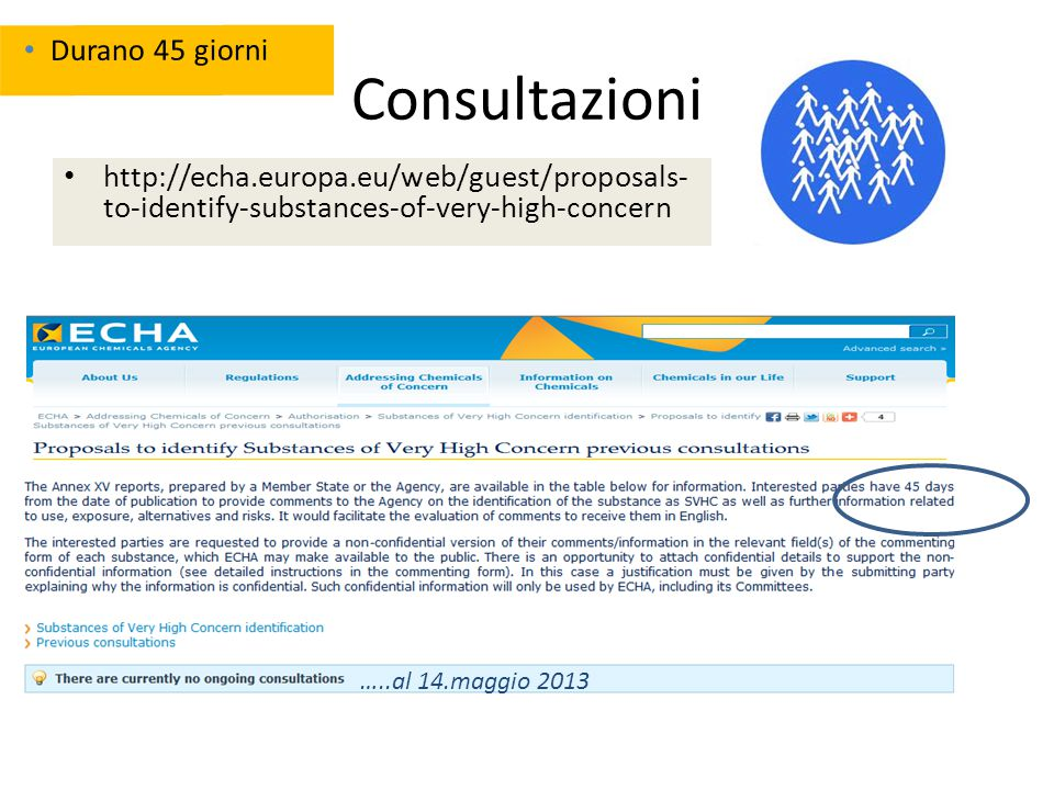 Consultazioni http://echa.europa.eu/web/guest/proposals- to-identify-substances-of-very-high-concern …..al 14.maggio 2013 Durano 45 giorni